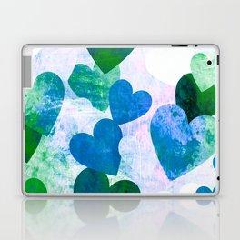 Fab Green & Blue Grungy Hearts Design Laptop & iPad Skin