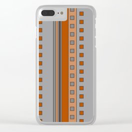 Squares and Stripes in Terracotta and Gray Clear iPhone Case