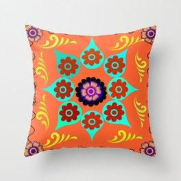 Talavera Tile Orange Throw Pillow