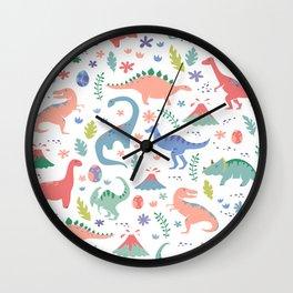 Dinos + Volcanoes - Coral Wall Clock
