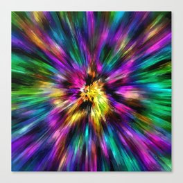 Vibrant Starburst Tie Dye Canvas Print