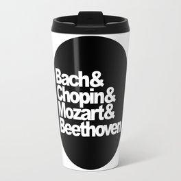 Bach and Chopin and Mozart and Beethoven, sticker, circle, black Travel Mug