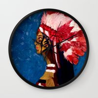 native american Wall Clocks featuring Native American by Ksuhappy