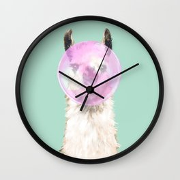 Bubble Gum Popped on Llama (2 in series of 3)  Wall Clock