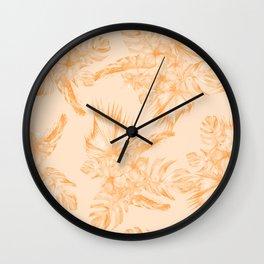Island Vacation Hibiscus Coral Mango Orange Wall Clock