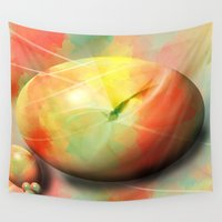 eggs Wall Tapestries featuring Pastel eggs by Christine baessler