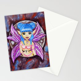 Galaxy moon fairy Stationery Cards
