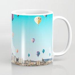 Minneapolis, Minnesota Skyline with Hot Air Balloons Over the City Skyline Coffee Mug