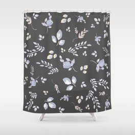 Spring watercolor leaves & tulips on dark grey background Shower Curtain