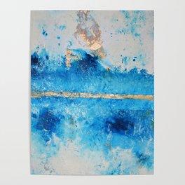 Rainy Day: a pretty minimal abstract mixed media piece in blue & gold by Alyssa Hamilton Art Poster