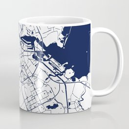 Amsterdam White on Navy Street Map Coffee Mug