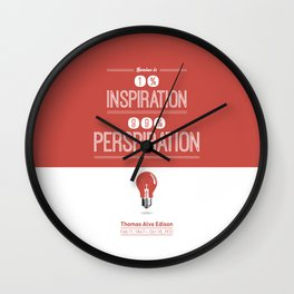 Lab No. 4 - Thomas Alva Edison Quote typography print Inspirational Quotes Poster Wall Clock