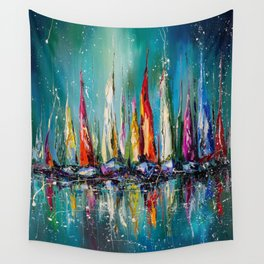 Boats in the harbor Wall Tapestry