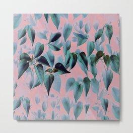 Tropical Foliage on Pink Metal Print