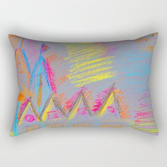 Colorful Village | Kids Painting Rectangular Pillow