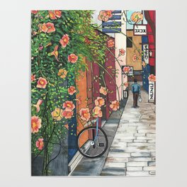 Flowers in an Alley Poster