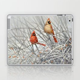 Cardinal Couple in Winter Laptop & iPad Skin