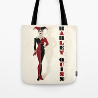harley quinn Tote Bags featuring Harley Quinn by Lily's Factory