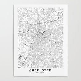 Charlotte White Map Poster