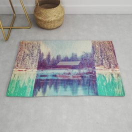 Abstract Winter Landscape Rug