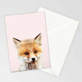 Baby Fox With Pink Background, Baby Animals Art Print By Synplus Stationery Cards
