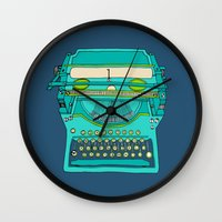 number Wall Clocks featuring Typewriter Number Five by bluebutton studio