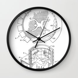 Skydiving Wind Tunnel Patent - Sky Diving Art - Black And White Wall Clock
