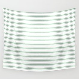 Moss Green and White Mattress Ticking Wide Striped Pattern Wall Tapestry