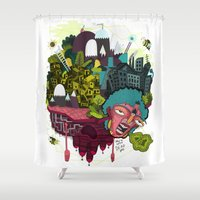 vonnegut Shower Curtains featuring She's Not Dead Yet by Stephanie Medeiros