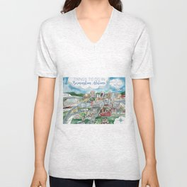 Cartoon Map of Birmingham, Alabama Landmarks Unisex V-Neck