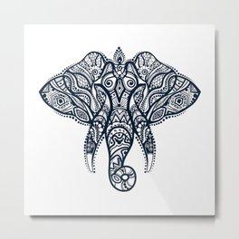 Tribal elephant head illustration Metal Print