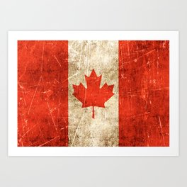 Vintage Aged and Scratched Canadian Flag Art Print