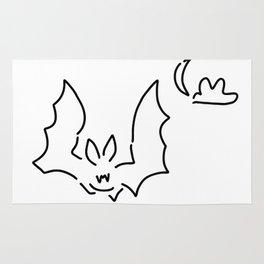 bat flughund at night moon Rug