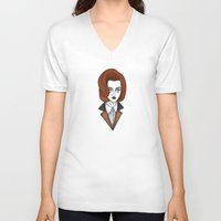 dana scully V-neck T-shirts featuring dana scully by Bunny Miele