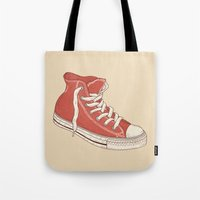 old school Tote Bags featuring Old School by Terry Fan
