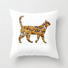 Gingerbread cat Throw Pillow