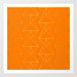 Orange Geometric Triangles Art Print