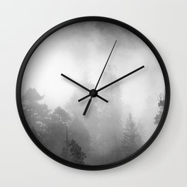 Harmony - Misty Mountain Forest Nature Photography Wall Clock