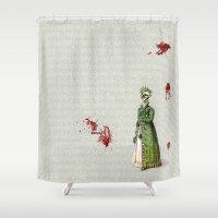pride and prejudice Shower Curtains featuring Pride & Prejudice - Zombified by Studio Fibonacci