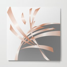 Rosegold Gray Abstract Art Metal Print