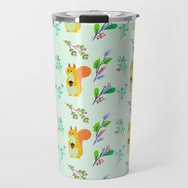 Cute hand painted yellow orange squirrel teal coral floral pattern Travel Mug