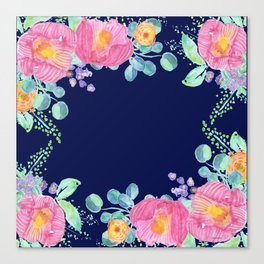 pink peonies with navy background Canvas Print