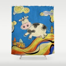 Cow - blue Shower Curtain