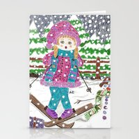 ski Stationery Cards featuring Ski girl by iCraftCafé