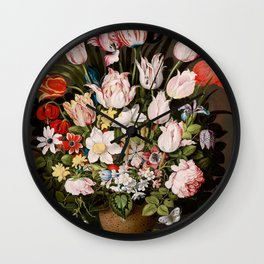 """Osias Beert """"A Bouquet of Flowers in a Vase"""" Wall Clock"""