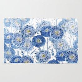 blue indigo dandelion pattern watercolor Rug