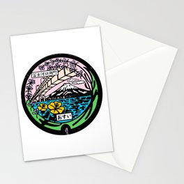 Mt Fuji Kawaguchiko Sewer Manhole Cover Stationery Cards
