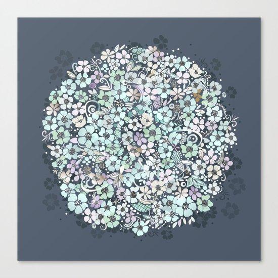 Flower Circle, mist blue Canvas Print