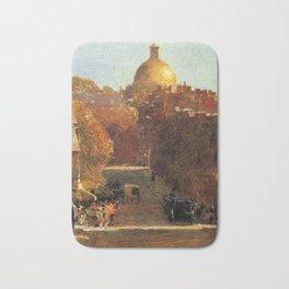 Classical Masterpiece 'Mount Vernon Street, Boston' by Frederick Childe Hassam Bath Mat
