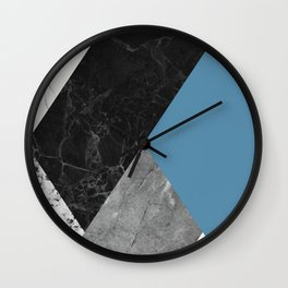 Black and White Marbles and Pantone Niagara Color Wall Clock